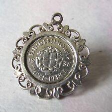 1938 Farthing moneda de oro plateado encanto colgante Listo Para Colgar