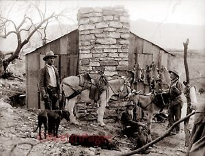 New Art Print of  c.1880 Trapper's Cabin Life in the Old West 7x9 on 8 1/2x11