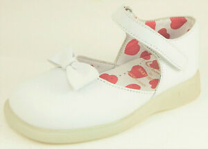 DE OSU-FARO - Girls White Leather Bow Shoes w Red Hearts - European 25 Size 7