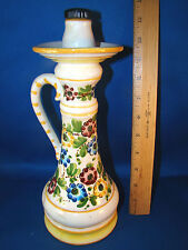 "Vintage Italian Ceramic 11"" Jug Decanter w/stopper Hand Painted Garnier @25"