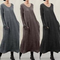 ZANZEA Women Long Sleeve Dress Casual Loose Kaftan Baggy Maxi Dresses Plus Size
