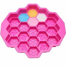 19 cell HUGE Honey comb Bees SOAP Beeswax Chocolate SILICONE CAKE MOULD Pan mold
