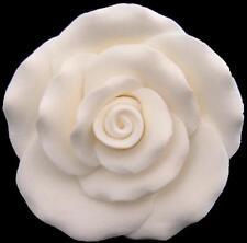 1 WIRED LARGE WHITE SUGAR ROSE HEAD WEDDING BIRTHDAY ETC CAKE TOPPER DECORATION
