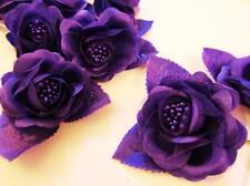 "12 Poly Silk Rose Flower Bouquet 2"" Brooch/wedding floral craft/Stem F67-Purple"