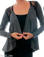 Charcoal Gray Drape Lace Back Artsy Long Sleeve Cover-Up Cardigan Top S M