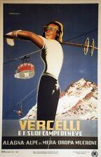"""""""VERCELLI"""" Affiche entoilée typo vers 1960 d'après CAMPAGNOLI 66x102cm"""