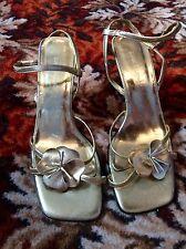 RIVER ISLAND Gold High Heel Strappy Shoes UK 7 EU 40 Clubbing Wedding PST21