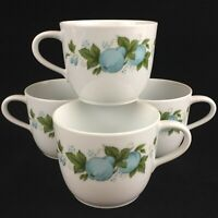"Set of 4 VTG Mugs 2 3/4"" by Noritake Blue Orchard Cookin Serve Fruit 6695 Japan"