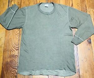 Duofold Wool Blend Olive Green Thermal Crew Neck Shirt Large 2 Layer g