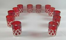12pc Lot of US Glass RED BLOCK EAPG 8oz Flat Tumblers(s)Multiple Sets Available