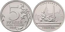 RUSSIA 5 Rublos RUSIA 2016 Ciudades Liberadas II Guerra Warsaw. 17.01.1945