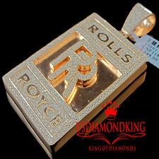 Mens Rose Gold Over Real Sterling Silver Lab Diamond Luxury Car Logo RR Pendant