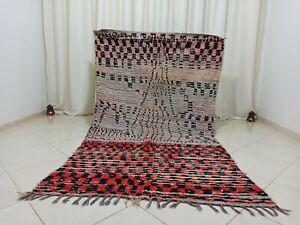 Vintage Handmade Moroccan Rug 4'3x8' Faded Red Black Checker Wool Berber Carpet