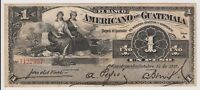 Guatemala 1 Peso 1917 PS111b gVF Banco Americano Rare Currency Note Bird