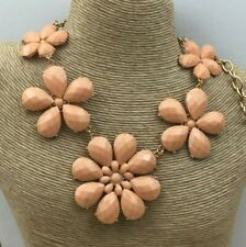 Fashion Necklace Acrylic Faceted peach Color Flower Power Gold Choker Chunky