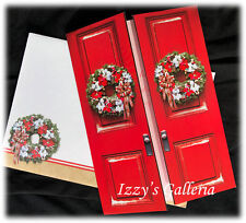 Vintage Red Door Wreath May Your Home Be Blessed Christmas Kelli Westfal Card