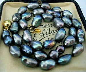 """New 7-8mm natural baroque Tahitian black pearl necklace 18 """""""