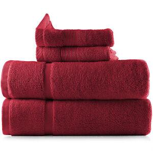 4 Piece Bath Mat and Washcloths Set 100% Cotton 2 Bath Mats and 2 Washcloths