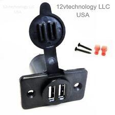 Dual USB Charger Socket 12 Volt Plug Jack Panel Mount Boat Car Plug Outlet