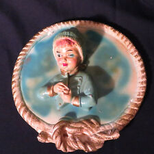 """Vintage Chalkware Wall Art Laplander Girl Winter Ski Clothing 9 and 1/2"""" unique"""