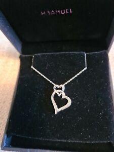 "BNIB H Samuel 925 Silver Diamond Double Heart Pendant Necklace 18"" Chain"