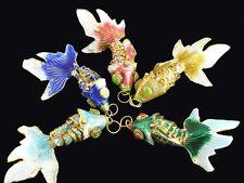 Vintage Chinese Japanese Oriental Enamel Cloisonne Wiggle Fish Pendant