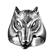 MATERIA Damen Herren Ring Wolf - 925 Silber Ring massiv 10,9g + Box