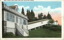 Rockland ME Owl's Head Lighthouse From Land Side c1920 Postcard