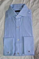 $595 NWT TOM FORD 15.5 eu39 Blue Spread textured french cuff cotton dress shirt