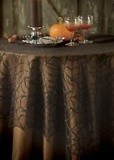 "Hw-6060B Usa Lace Halloween Black Spider Web Large 60"" Square Table Topper Decor"