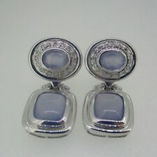 14k White Gold Chalcedony Statement Earrings