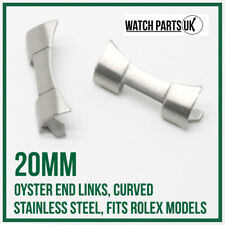 ♛ 20mm Oyster Curved End Links, Stainless Steel, Brushed, Fits ROLEX Models ♛