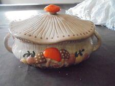 Vintage Arnels Mushroom Casserole Handmade Pottery 70's Ceramic Brown Orange Yel