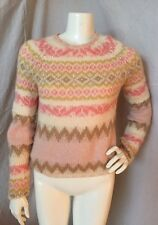 GAP Women's Mohair Wool Crewneck Pink/Ivory Chunky Nordic Sweater Size L