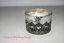 Teelichthalter Glas Teelichtglas Windlicht Bauernsilber Shabby 3 Stück