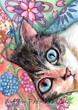 "ACEO LE Art Card Print 2.5""x3.5"" Snuggle "" Cute Animal Cat Art by Patricia"