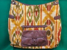 Liz Claiborne LC Large Canvas and Leather Purse Southwestern Red Green and Orang