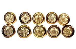 10 Vintage Ornate Brass White Pulls Knobs Dresser Drawer Cabinet Furniture Metal