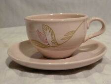 Russel Wright Iroquois Casual China Gay Wings Cup and Saucer Set, pink