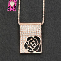 Betsey Johnson Crystal Hollow Rose Flower Square Pendant Sweater Chain Necklace