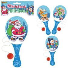 6 x Weihnachten Biff Fledermäuse Holz Paddel Schläger und Ball spielen Kinder Party Beutel Füller