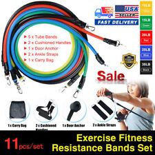 11PCS/Set Resistance Band Yoga Pilates Abs Exercise Fitness Tube Workout Bands