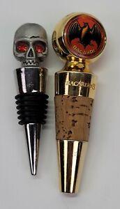 2 Vtg Bacardi Rum Gold Metal Bottle Spout Stopper Lot Bat Skull Halloween Rare