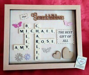 Personalised GRANDCHILDREN FRAME Scrabble Gift Picture Keepsake GRANDPARENT
