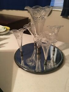 Beautiful crystal epergne with mirror base