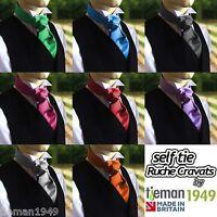 Self Tie Cravat Ruche Wedding Italian Satin Formal Wear