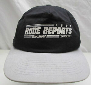 2002 Rode Reports Snow Goer Snowmobile Hat Adjustable Black & Gray