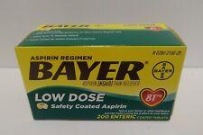 Bayer Low Dose Aspirin Regimen 81 mg 200 Enteric Safety Coated Tablets EXP 07/20