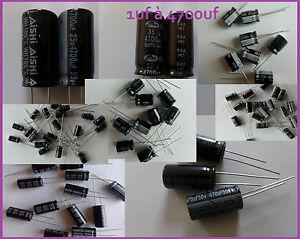 Condensateurs chimiques/electrolytiques 1uF à 4700uF - 10V à 100V  lot au choix