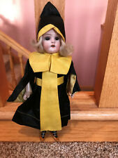 """8"""" Unknown costume Bisque head Girl Antique Doll ribbed socks German French"""